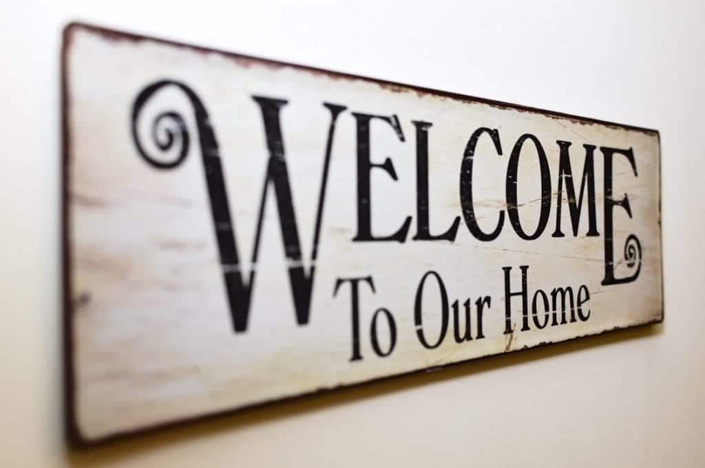 Welcome sign for a first time home buyer in California