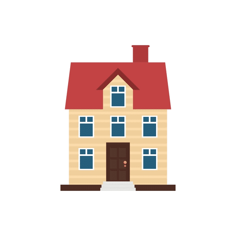 Tall Brown Home With Red Roof